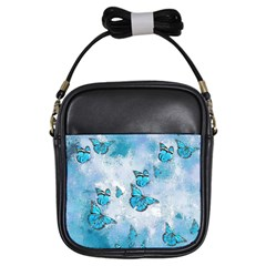 Adorable Butterflies, Aqua Girls Sling Bags by MoreColorsinLife