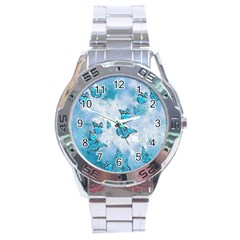 Adorable Butterflies, Aqua Stainless Steel Analogue Watch by MoreColorsinLife