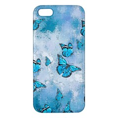 Adorable Butterflies, Aqua Apple Iphone 5 Premium Hardshell Case by MoreColorsinLife