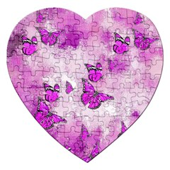 Adorable Butterflies, Pink Jigsaw Puzzle (heart) by MoreColorsinLife