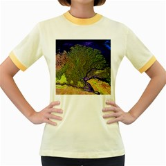 Lena River Delta A Photo Of A Colorful River Delta Taken From A Satellite Women s Fitted Ringer T-shirts by Simbadda