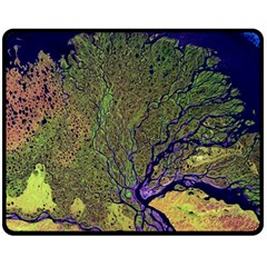 Lena River Delta A Photo Of A Colorful River Delta Taken From A Satellite Fleece Blanket (medium)