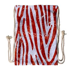 Skin4 White Marble & Red Marble Drawstring Bag (large) by trendistuff