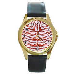 Skin2 White Marble & Red Marble (r) Round Gold Metal Watch by trendistuff