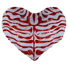 Skin2 White Marble & Red Marble (r) Large 19  Premium Heart Shape Cushions by trendistuff