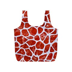 Skin1 White Marble & Red Marble (r) Full Print Recycle Bags (s)  by trendistuff