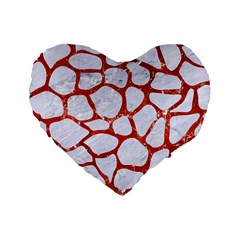 Skin1 White Marble & Red Marble Standard 16  Premium Heart Shape Cushions