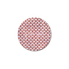 Scales3 White Marble & Red Marble (r) Golf Ball Marker by trendistuff