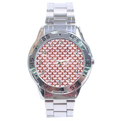Scales3 White Marble & Red Marble (r) Stainless Steel Analogue Watch by trendistuff