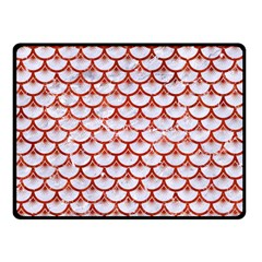 Scales3 White Marble & Red Marble (r) Double Sided Fleece Blanket (small)  by trendistuff