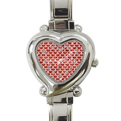 Scales3 White Marble & Red Marble Heart Italian Charm Watch by trendistuff