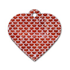 Scales3 White Marble & Red Marble Dog Tag Heart (one Side) by trendistuff