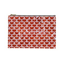 Scales3 White Marble & Red Marble Cosmetic Bag (large)  by trendistuff