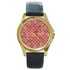 Scales2 White Marble & Red Marble Round Gold Metal Watch by trendistuff