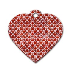 Scales2 White Marble & Red Marble Dog Tag Heart (one Side) by trendistuff