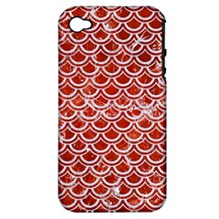 Scales2 White Marble & Red Marble Apple Iphone 4/4s Hardshell Case (pc+silicone) by trendistuff