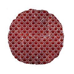 Scales2 White Marble & Red Marble Standard 15  Premium Flano Round Cushions by trendistuff