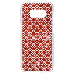 Scales2 White Marble & Red Marble Samsung Galaxy S8 White Seamless Case by trendistuff