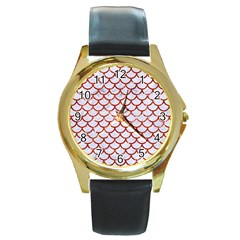Scales1 White Marble & Red Marble (r) Round Gold Metal Watch by trendistuff