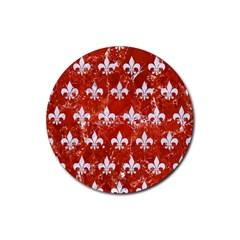 Royal1 White Marble & Red Marble (r) Rubber Round Coaster (4 Pack)  by trendistuff