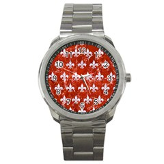 Royal1 White Marble & Red Marble (r) Sport Metal Watch by trendistuff