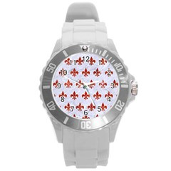 Royal1 White Marble & Red Marble Round Plastic Sport Watch (l) by trendistuff