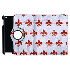 Royal1 White Marble & Red Marble Apple Ipad 2 Flip 360 Case