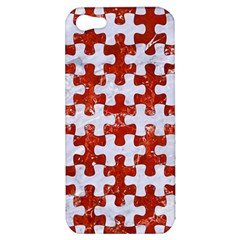 Puzzle1 White Marble & Red Marble Apple Iphone 5 Hardshell Case by trendistuff
