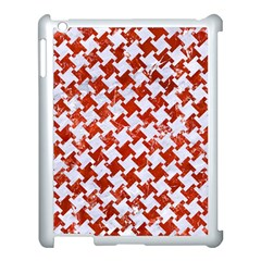 Houndstooth2 White Marble & Red Marble Apple Ipad 3/4 Case (white) by trendistuff
