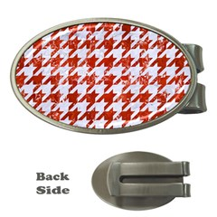 Houndstooth1 White Marble & Red Marble Money Clips (oval)  by trendistuff