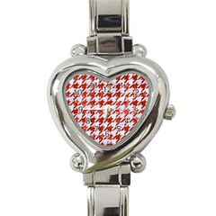 Houndstooth1 White Marble & Red Marble Heart Italian Charm Watch by trendistuff