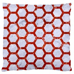 Hexagon2 White Marble & Red Marble (r) Standard Flano Cushion Case (one Side) by trendistuff