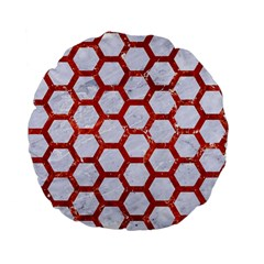 Hexagon2 White Marble & Red Marble (r) Standard 15  Premium Flano Round Cushions