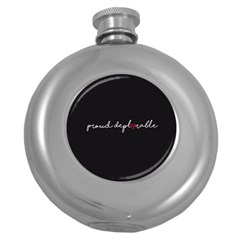 Proud Deplorable Maga Women For Trump With Heart And Handwritten Text Round Hip Flask (5 Oz) by MAGA