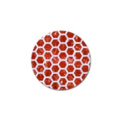 Hexagon2 White Marble & Red Marble Golf Ball Marker by trendistuff