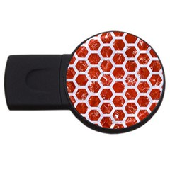 Hexagon2 White Marble & Red Marble Usb Flash Drive Round (4 Gb) by trendistuff