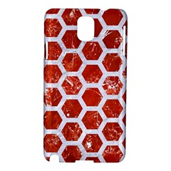 Hexagon2 White Marble & Red Marble Samsung Galaxy Note 3 N9005 Hardshell Case by trendistuff