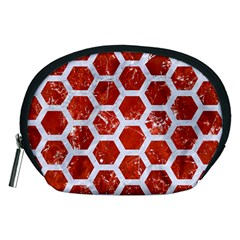 Hexagon2 White Marble & Red Marble Accessory Pouches (medium)