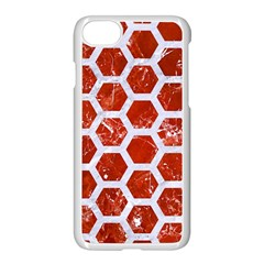 Hexagon2 White Marble & Red Marble Apple Iphone 8 Seamless Case (white) by trendistuff