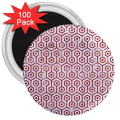 Hexagon1 White Marble & Red Marble (r) 3  Magnets (100 Pack) by trendistuff