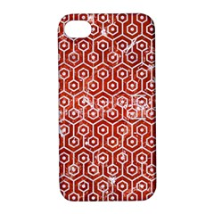 Hexagon1 White Marble & Red Marble Apple Iphone 4/4s Hardshell Case With Stand by trendistuff