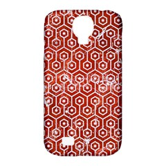 Hexagon1 White Marble & Red Marble Samsung Galaxy S4 Classic Hardshell Case (pc+silicone) by trendistuff