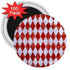 Diamond1 White Marble & Red Marble 3  Magnets (100 Pack) by trendistuff