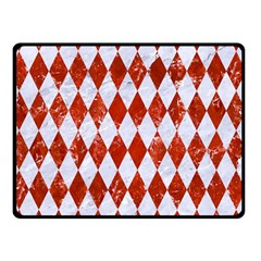 Diamond1 White Marble & Red Marble Double Sided Fleece Blanket (small)