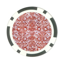 Damask2 White Marble & Red Marble (r) Poker Chip Card Guard (10 Pack) by trendistuff
