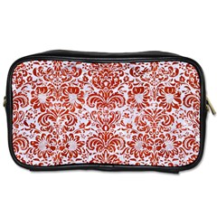 Damask2 White Marble & Red Marble (r) Toiletries Bags 2 Side by trendistuff