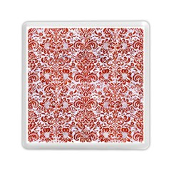 Damask2 White Marble & Red Marble (r) Memory Card Reader (square)  by trendistuff