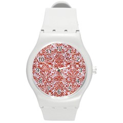 Damask2 White Marble & Red Marble (r) Round Plastic Sport Watch (m) by trendistuff