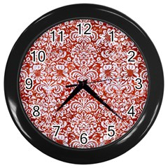Damask2 White Marble & Red Marble Wall Clocks (black) by trendistuff