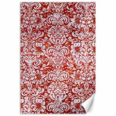Damask2 White Marble & Red Marble Canvas 24  X 36  by trendistuff